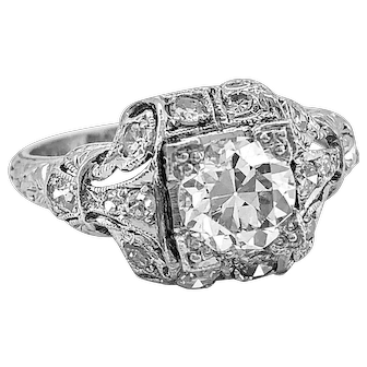 Antique Engagement Ring .83ct. Diamond & Platinum Art Deco - J34544