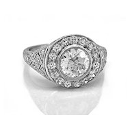 1.02ct. Diamond & Platinum Art Deco Engagement Ring- J34640
