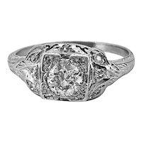 Antique Engagement Ring Art Deco Platinum & .42ct. Diamond - J34671