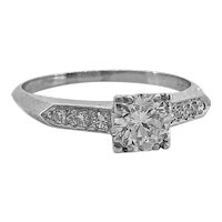 Art Deco Antique Engagement Ring .48ct. Diamond & Platinum - J34687