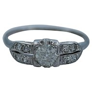 Art Deco .40ct. & 18K White Gold Engagement Ring - J34706
