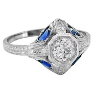 Antique Engagement Ring .43ct. Diamond, Sapphire & 18K White Gold - J34709