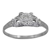 Antique Engagement Ring .52ct. Diamond & Platinum Art Deco - J34750