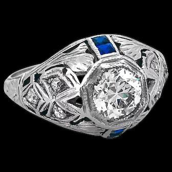 Antique Engagement Ring .65ct. Diamond & Sapphire 18K White Gold - J34825