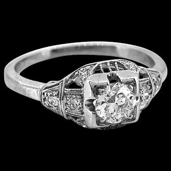 Art Deco Antique Engagement Ring Platinum .38ct. Diamond - J34839