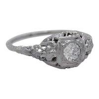 Edwardian .25ct. Diamond 18K White Gold Antique Engagement Ring - J34901