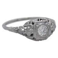 Edwardian .25ct. Diamond 18K White Gold Antique Engagement Ring - J34901
