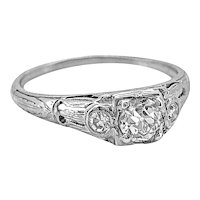 Art Deco .34ct. Diamond Antique Engagement Ring 18K White Gold - J34905