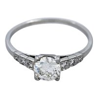 Platinum .53ct. Diamond Art Deco Engagement Ring - J34911