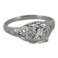 Antique Engagement Ring .52ct. Diamond & 18K White Gold Art Deco - J34940