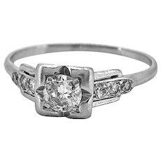 Platinum Art Deco .25ct. Diamond Antique Engagement Ring - J35047