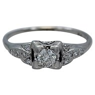 Art Deco .18ct. Diamond & Platinum Engagement Ring - J35049