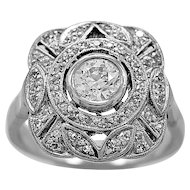 Antique Engagement Ring - Fashion Ring .60ct. Diamond Art Deco - J35084