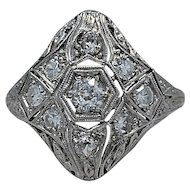 Art Deco .23ct. Diamond & Platinum Fashion Ring - J35097