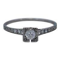 Art Deco .24ct. Diamond & Platinum Engagement Ring By Lambert Brothers - J35174