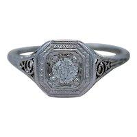 Art Deco .20ct. Diamond & 18K White Gold Engagement Ring