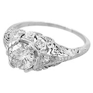 Edwardian .94ct. Diamond & Platinum Antique Engagement Ring - J35233