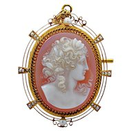 Edwardian 18K Yellow Gold Sardonyx Hard Stone Cameo Brooch - J35343