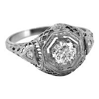 Antique Engagement Ring .50ct. Diamond & 18K White Gold Art Deco - J35393