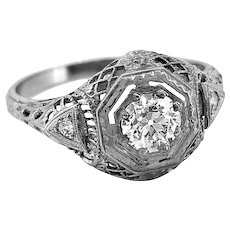 Antique Engagement Ring .50ct. Diamond & 18K White Gold Art Deco - J35393