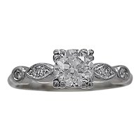 Antique Engagement Ring .70ct. Diamond & Palladium Art Deco - J35398