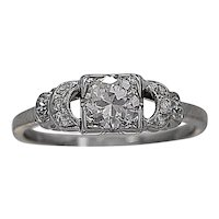 Art Deco .50ct. Diamond & White Gold Engagement Ring - J35408