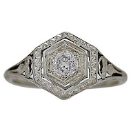 .25ct. Diamond & White Gold Art Deco Engagement Ring - J35416