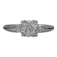 Antique Engagement Ring 1.04ct. Diamond & Platinum Art Deco - J35490