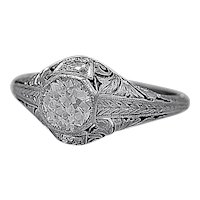 Antique Engagement Ring .65ct. Diamond & Platinum Art Deco - J35535