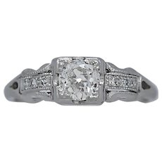 Vintage Engagement Ring .42ct. Diamond & Platinum Art Deco - J35551