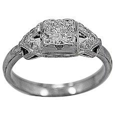 Antique Engagement Ring .45ct. Diamond & 18K White Gold Art Deco - J35578