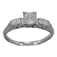 Antique Engagement Ring .51ct. Diamond & Platinum Art Deco - J35590