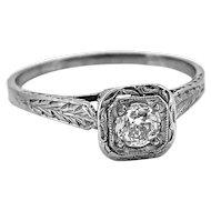 Antique Engagement Ring .28ct. Diamond & 18K White Gold Edwardian - J35601