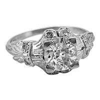 Art Deco Antique Engagement Ring .84ct. Diamond & Platinum - J35610