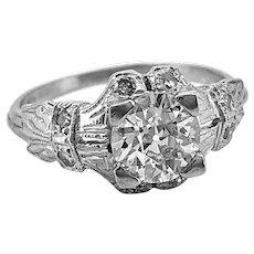 Art Deco Antique Engagement Ring .84ct. Diamond & Platinum - J35610