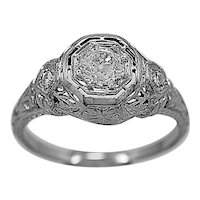 Art Deco Antique Engagement Ring .50ct. Diamond & 18K White Gold - J35611