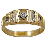 Antique Wedding Band .06ct. Diamond & Yellow Gold Late Victorian - J35658