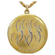 Art Nouveau Locket .08ct. Diamond & Yellow Gold c. 1912 - J35687