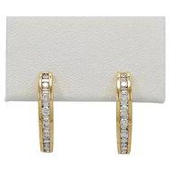 Estate Hoop Earrings 1.00ct. T.W. Diamond & Yellow Gold - J35689
