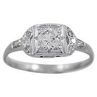 Antique Engagement Ring .35ct. Diamond & 18K White Gold - J35741