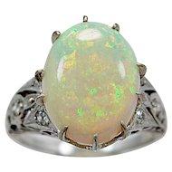 Antique Fashion Ring 5.00ct. Opal & Platinum Art Deco - J35764