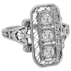 Antique Fashion Ring .20ct. T.W. Diamond & Platinum Edwardian - J35820