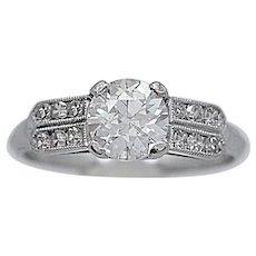 Antique Engagement Ring .95ct. Diamond & Platinum Art Deco