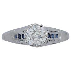 Art Deco 1.10ct. Diamond Antique Engagement Ring Platinum - J35982