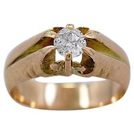 Antique Engagement Ring .33ct. Diamond & Yellow Gold Edwardian - J36022