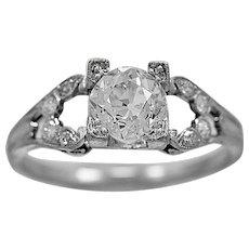 Antique Engagement Ring 1.10ct. Diamond & Platinum Art Deco - J36059