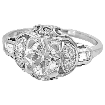 Antique Engagement Ring 1.08ct. Diamond & Platinum Art Deco - J36112
