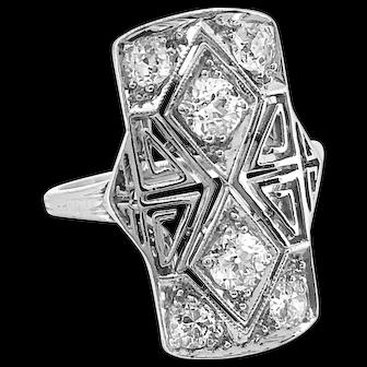 Antique Fashion Ring 1.00ct. T.W. Platinum & Diamond Art Deco - J36117