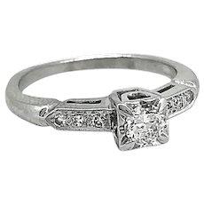 Art Deco .20ct. Diamond Antique Engagement Ring 14K White Gold