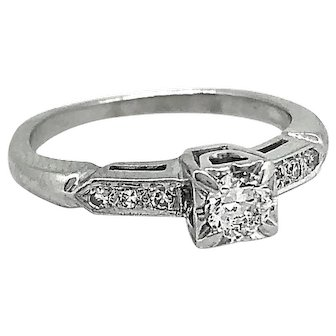 Art Deco .20ct. Diamond Antique Engagement Ring 14K White Gold